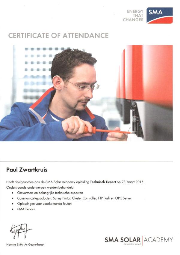 SMA Paul Zwartkruis technisch expert